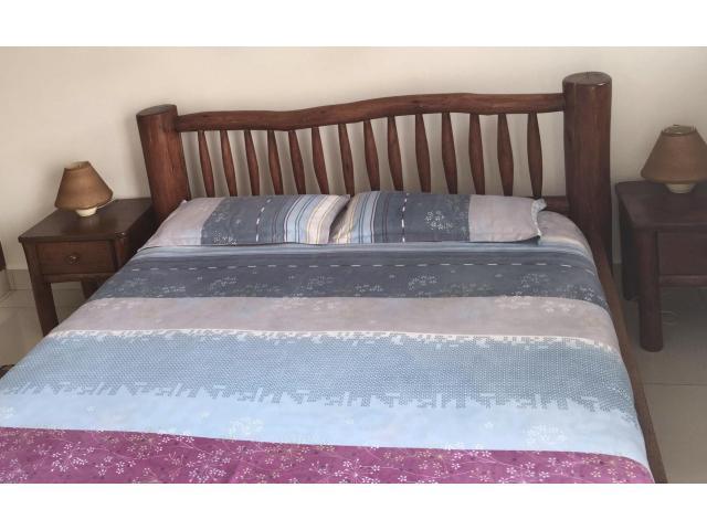 5x6 Log bed + mattress+ 2 side tables