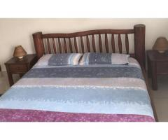5x6 Log bed + mattress+ 2 side tables